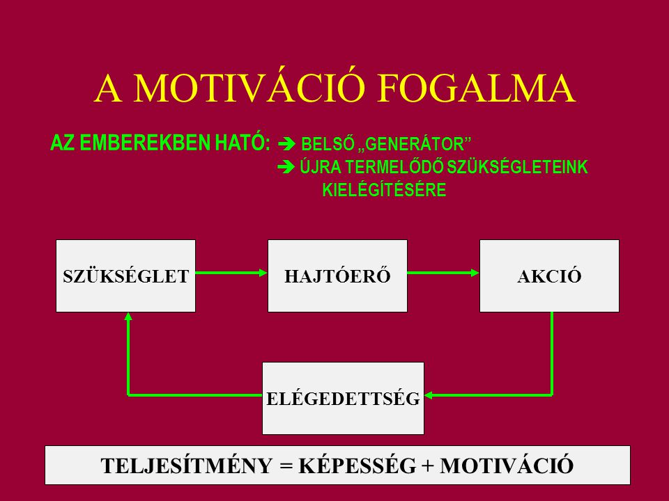 TELJESÍTMÉNY = KÉPESSÉG + MOTIVÁCIÓ