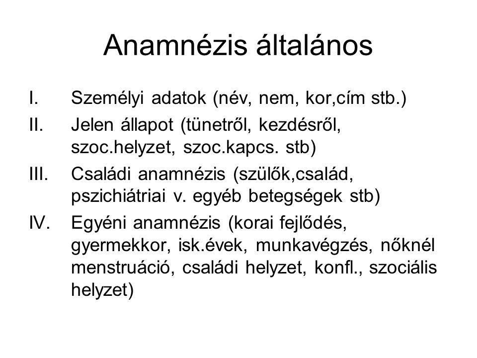 Anamnézis általános Személyi adatok (név, nem, kor,cím stb.)
