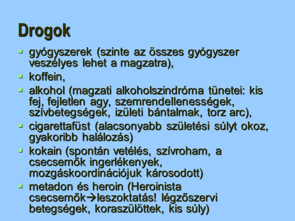 Drogok gyógyszerek (szinte az összes gyógyszer veszélyes lehet a magzatra), koffein,