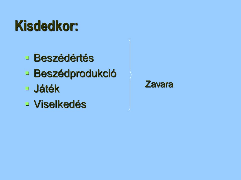 Kisdedkor: Beszédértés Beszédprodukció Játék Viselkedés Zavara