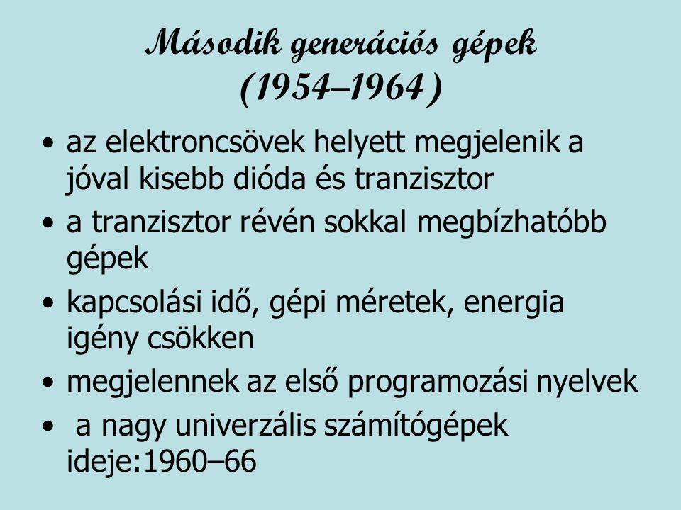 Második generációs gépek (1954–1964)