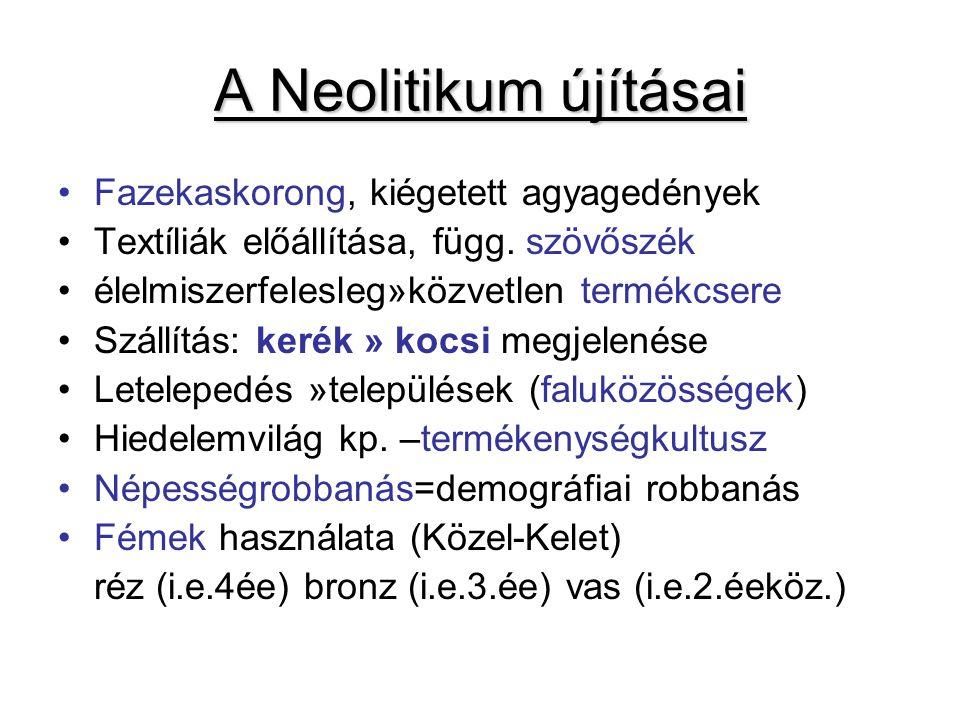 A Neolitikum újításai Fazekaskorong, kiégetett agyagedények