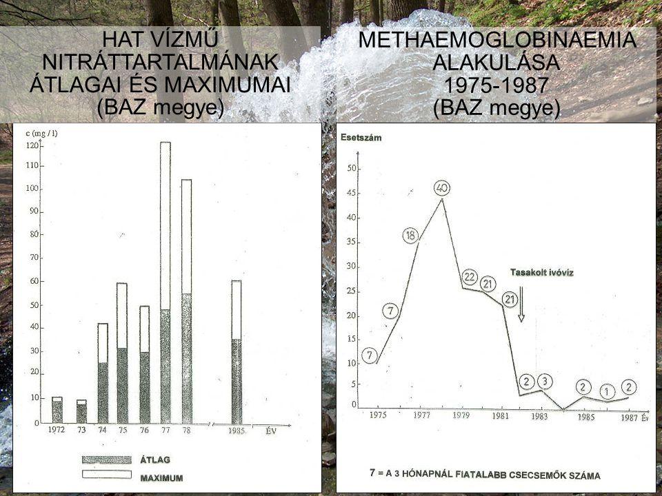 HAT VÍZMŰ NITRÁTTARTALMÁNAK ÁTLAGAI ÉS MAXIMUMAI (BAZ megye)