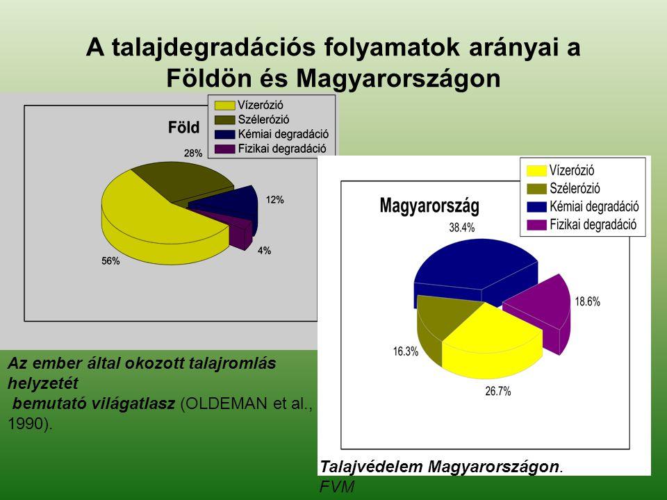 A talajdegradációs folyamatok arányai a Földön és Magyarországon