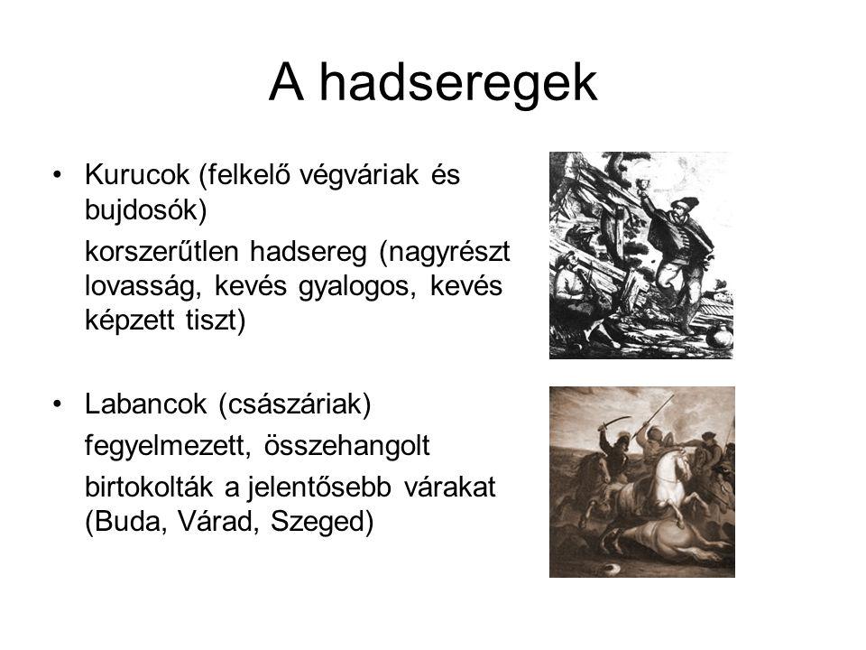 A hadseregek Kurucok (felkelő végváriak és bujdosók)