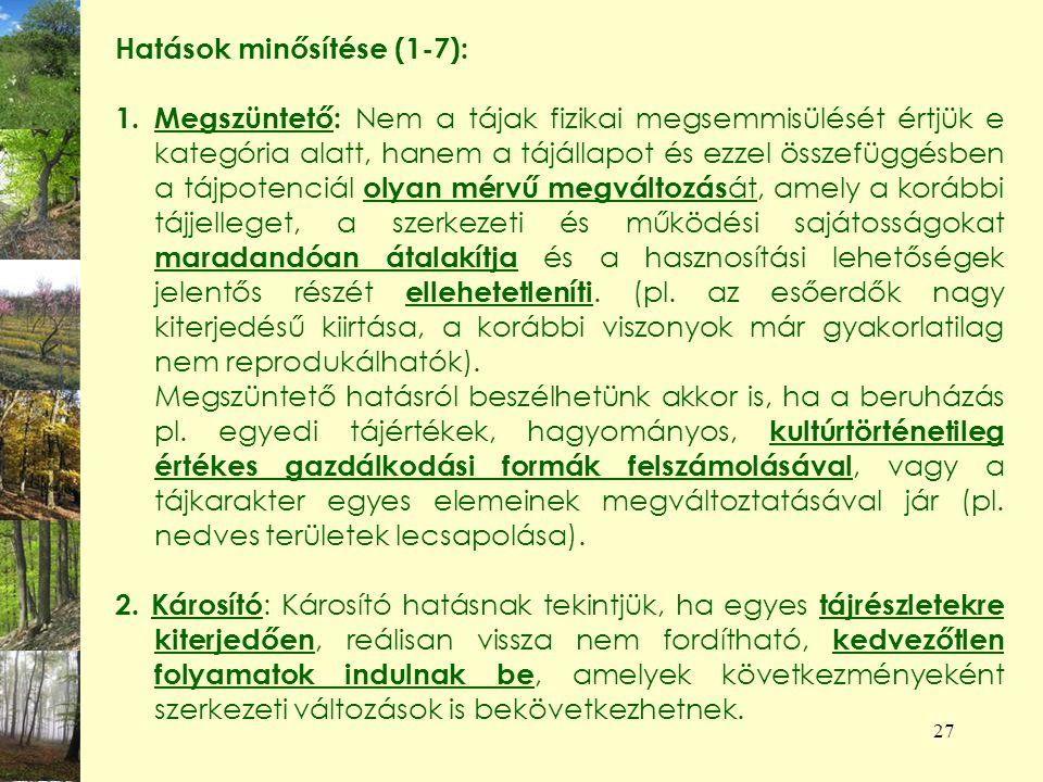 Hatások minősítése (1-7):