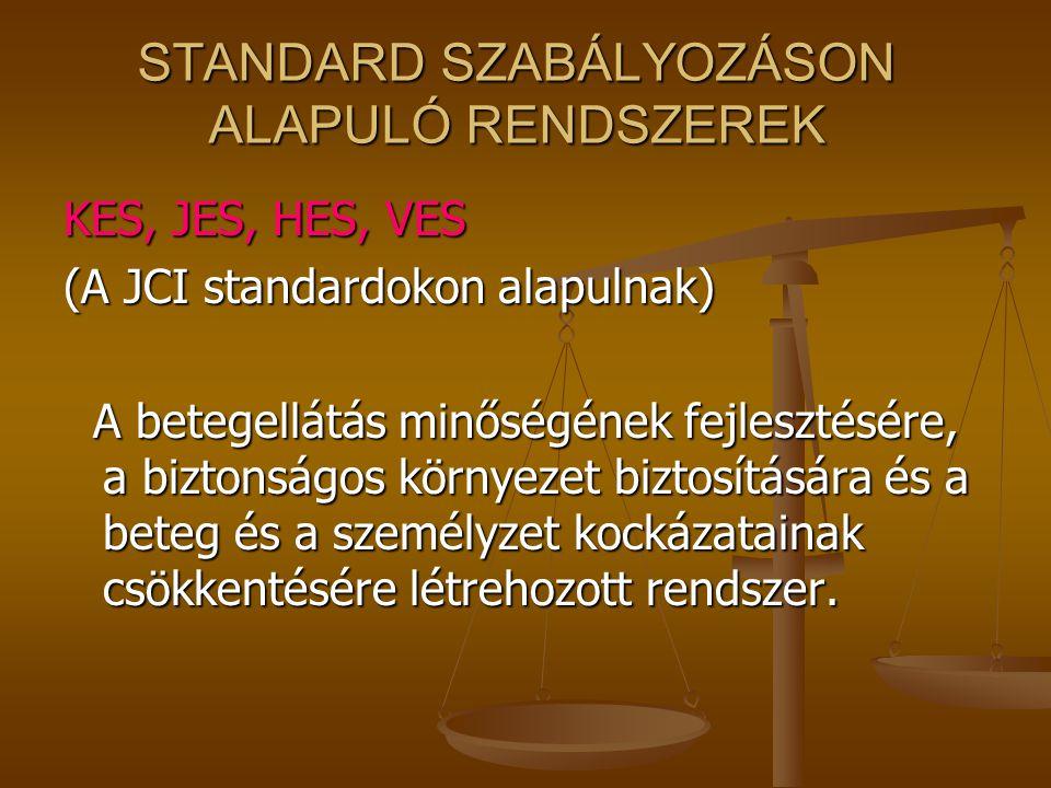 STANDARD SZABÁLYOZÁSON ALAPULÓ RENDSZEREK