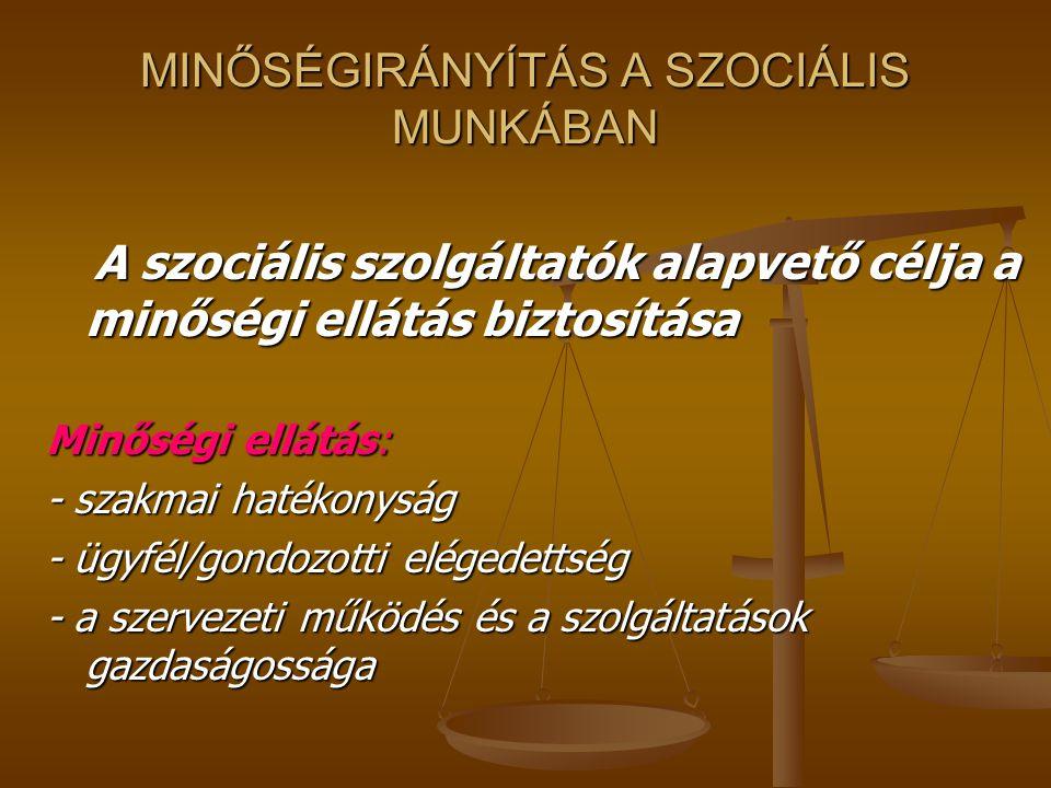 MINŐSÉGIRÁNYÍTÁS A SZOCIÁLIS MUNKÁBAN