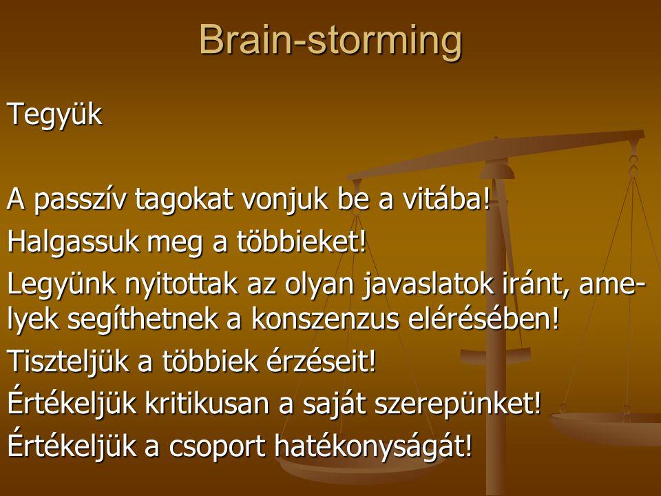 Brain-storming Tegyük A passzív tagokat vonjuk be a vitába!
