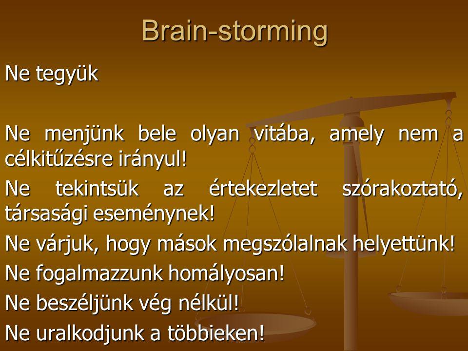 Brain-storming Ne tegyük
