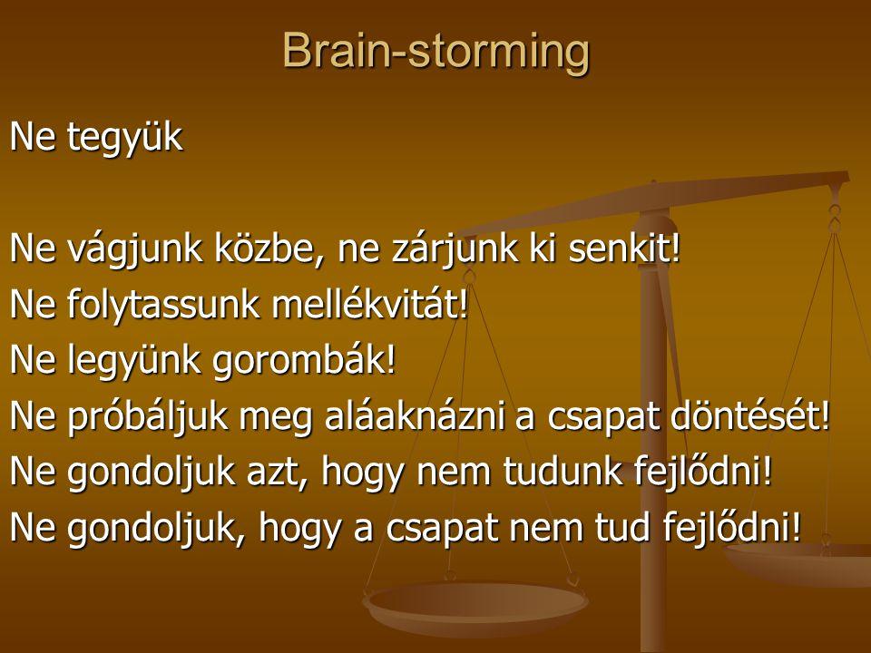 Brain-storming Ne tegyük Ne vágjunk közbe, ne zárjunk ki senkit!