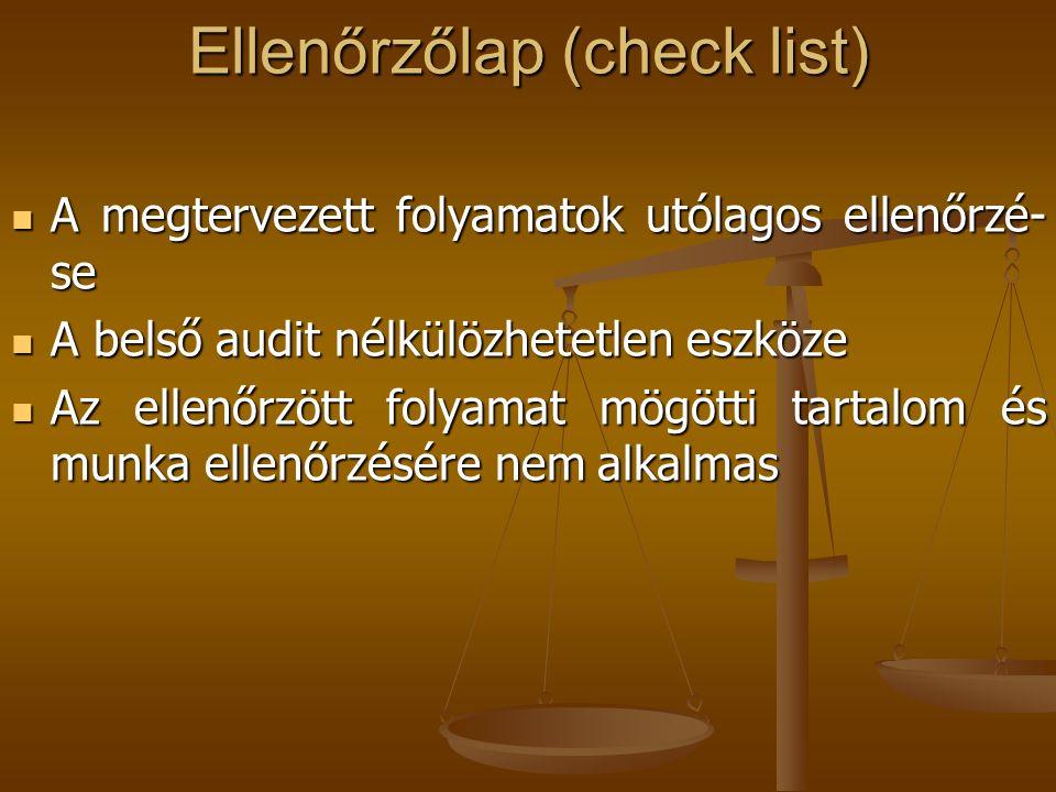 Ellenőrzőlap (check list)