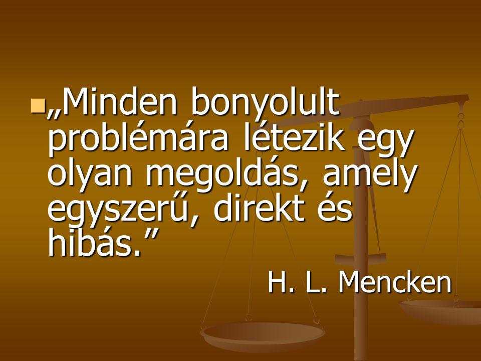"""""""Minden bonyolult problémára létezik egy olyan megoldás, amely egyszerű, direkt és hibás."""