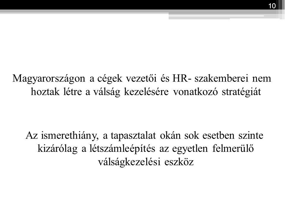 Magyarországon a cégek vezetői és HR- szakemberei nem hoztak létre a válság kezelésére vonatkozó stratégiát Az ismerethiány, a tapasztalat okán sok esetben szinte kizárólag a létszámleépítés az egyetlen felmerülő válságkezelési eszköz