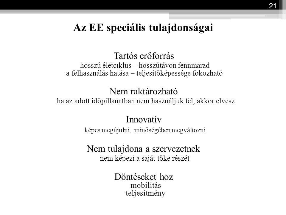 Az EE speciális tulajdonságai