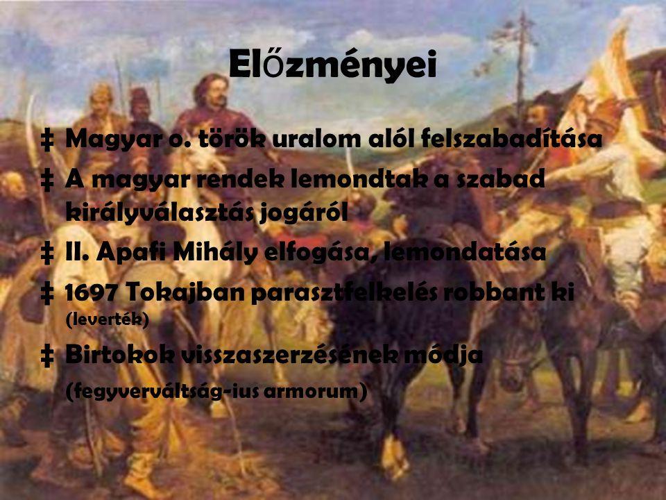 Előzményei Magyar o. török uralom alól felszabadítása