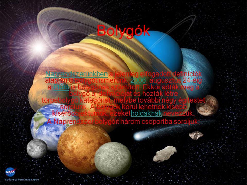A Naprendszer bolygóit három csoportba soroljuk: