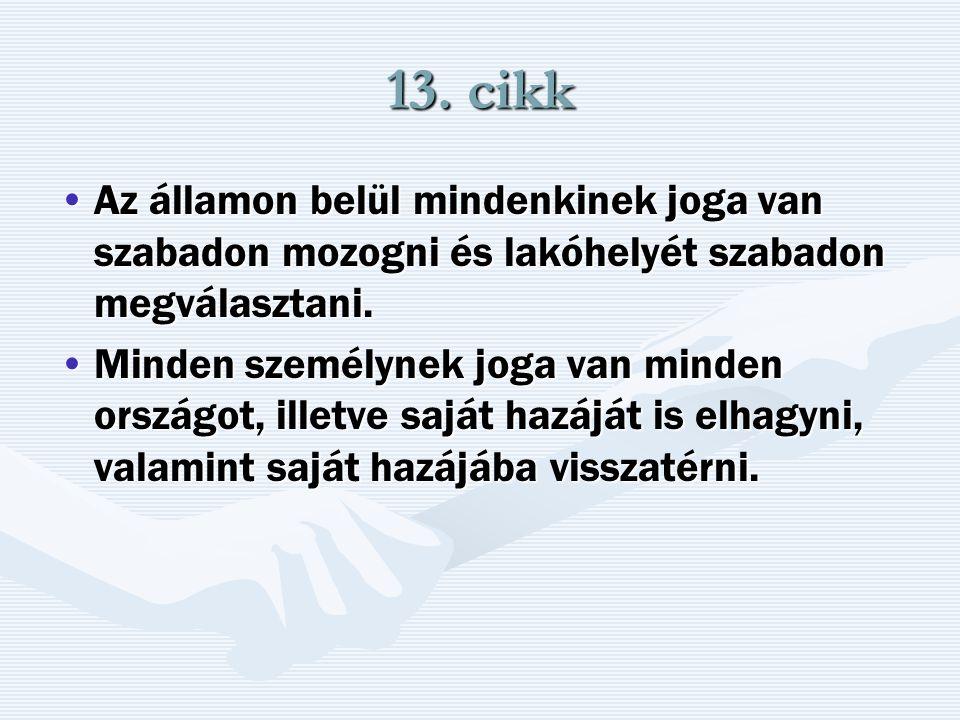 13. cikk Az államon belül mindenkinek joga van szabadon mozogni és lakóhelyét szabadon megválasztani.