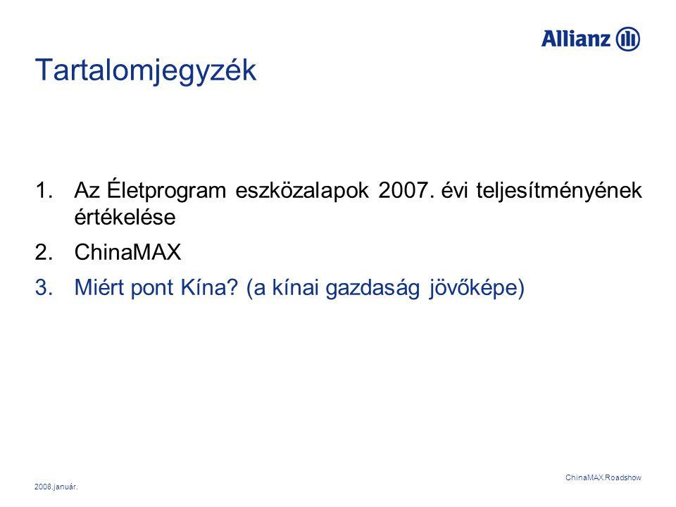 Tartalomjegyzék Az Életprogram eszközalapok 2007. évi teljesítményének értékelése. ChinaMAX. Miért pont Kína (a kínai gazdaság jövőképe)
