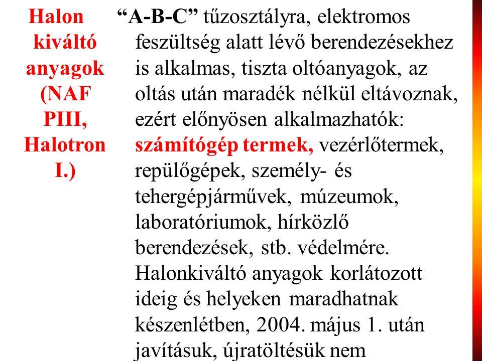 Halon kiváltó anyagok (NAF PIII, Halotron I.)