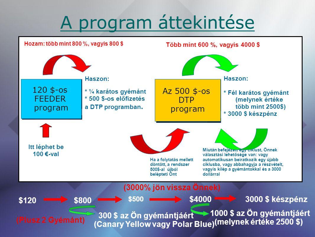 A program áttekintése 120 $-os FEEDER program Az 500 $-os DTP program
