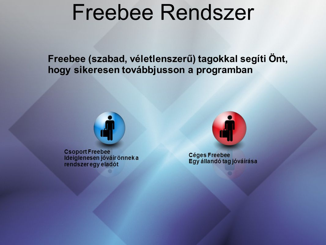 Freebee Rendszer 36363636. Freebee (szabad, véletlenszerű) tagokkal segíti Önt, hogy sikeresen továbbjusson a programban.