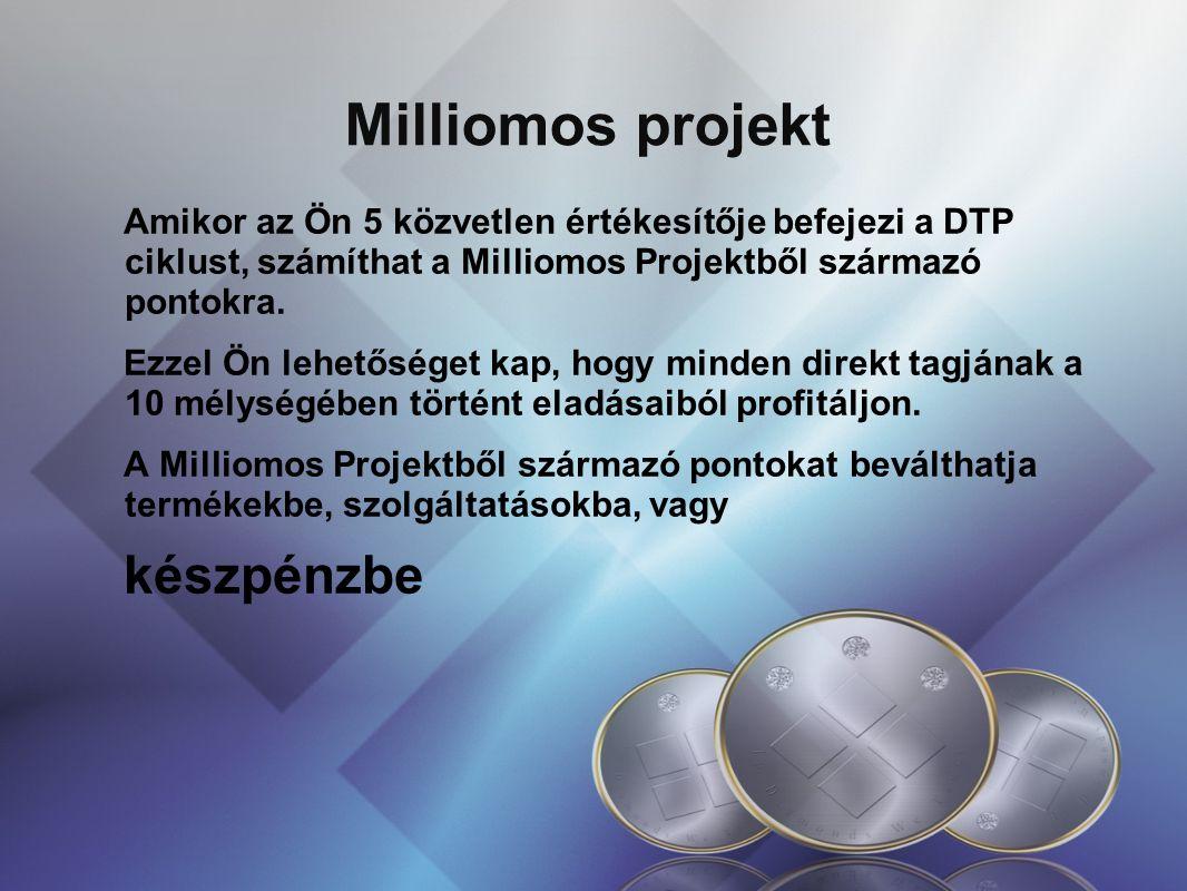 Milliomos projekt Amikor az Ön 5 közvetlen értékesítője befejezi a DTP ciklust, számíthat a Milliomos Projektből származó pontokra.