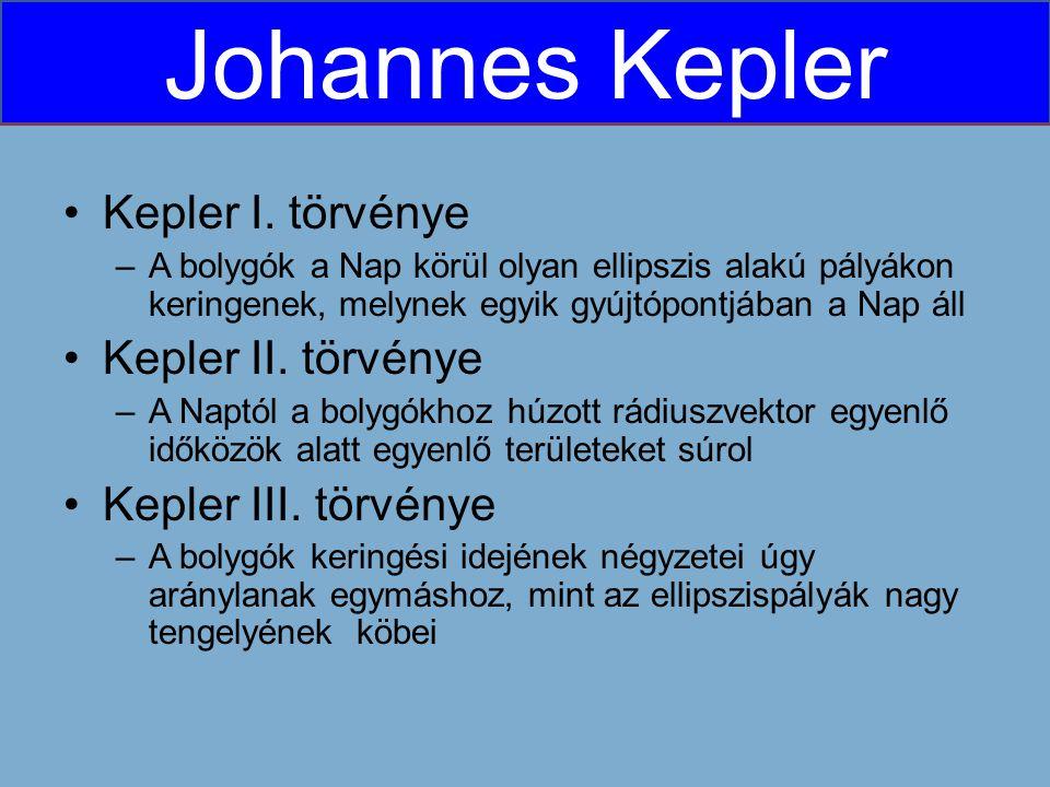 Kepler I. törvénye Kepler II. törvénye Kepler III. törvénye