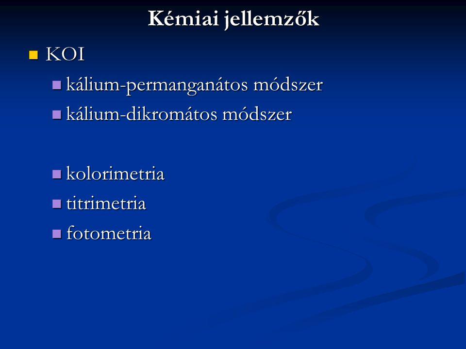 Kémiai jellemzők KOI kálium-permanganátos módszer