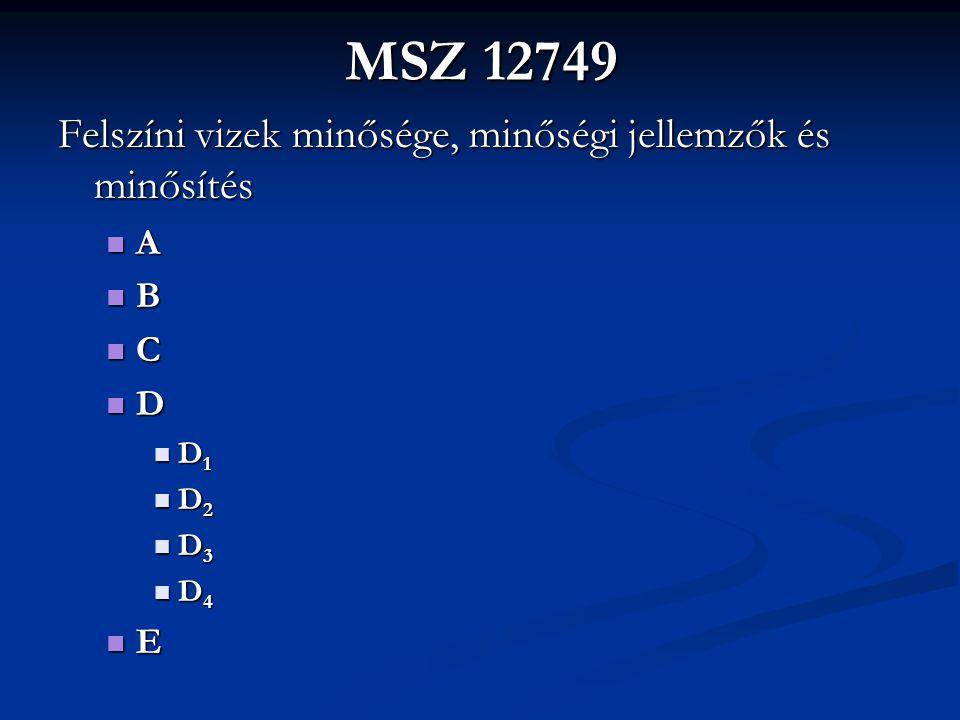 MSZ 12749 Felszíni vizek minősége, minőségi jellemzők és minősítés A B