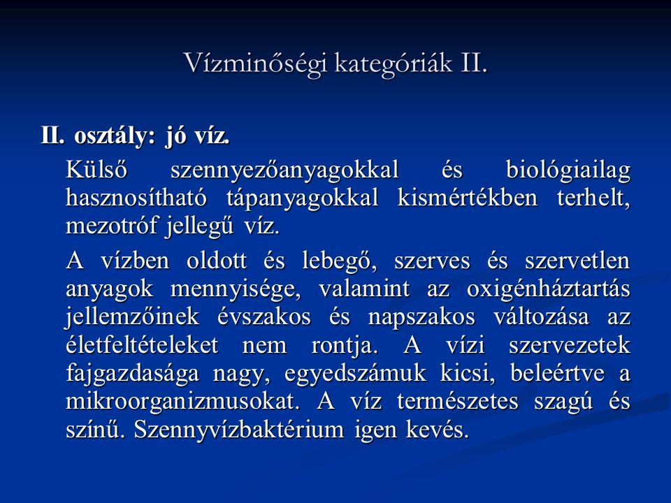 Vízminőségi kategóriák II.