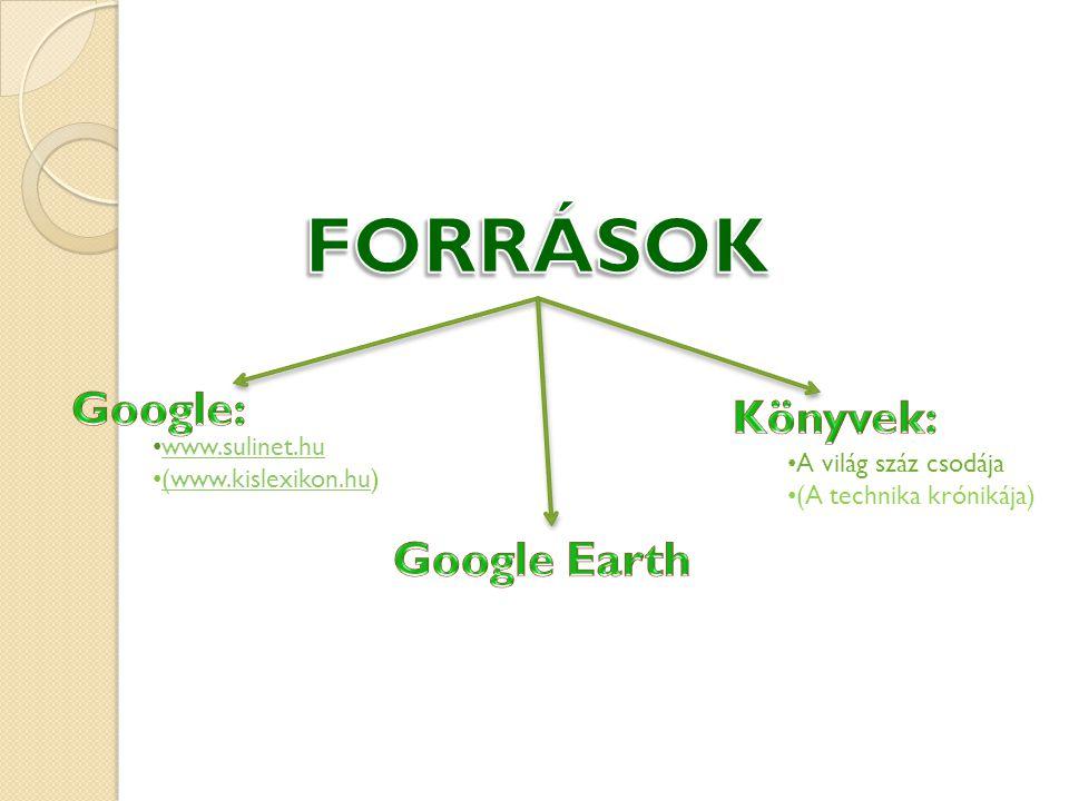 FORRÁSOK Google: Könyvek: Google Earth www.sulinet.hu