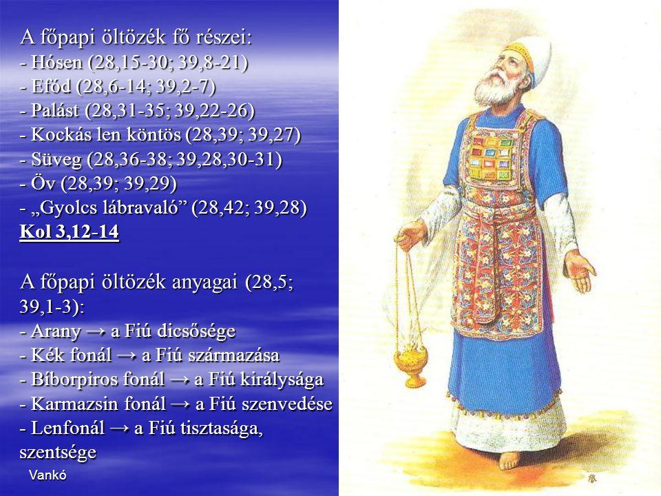 A főpapi öltözék fő részei: