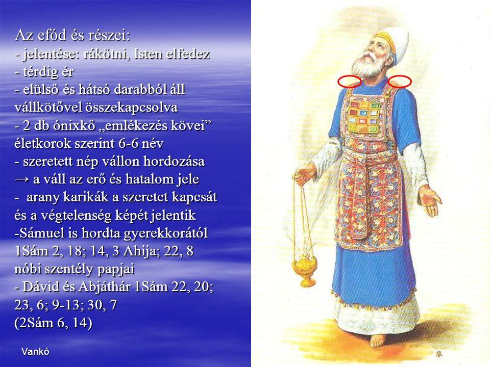 Az efód és részei: jelentése: rákötni, Isten elfedez térdig ér