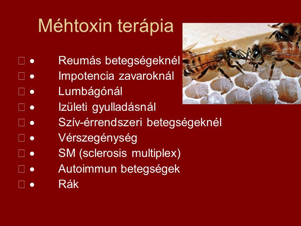 Méhtoxin terápia · Reumás betegségeknél · Impotencia zavaroknál