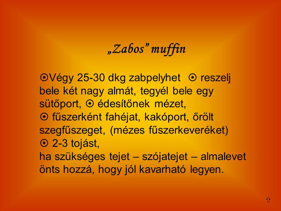 """""""Zabos muffin Végy 25-30 dkg zabpelyhet  reszelj bele két nagy almát, tegyél bele egy sütőport,  édesítőnek mézet,"""