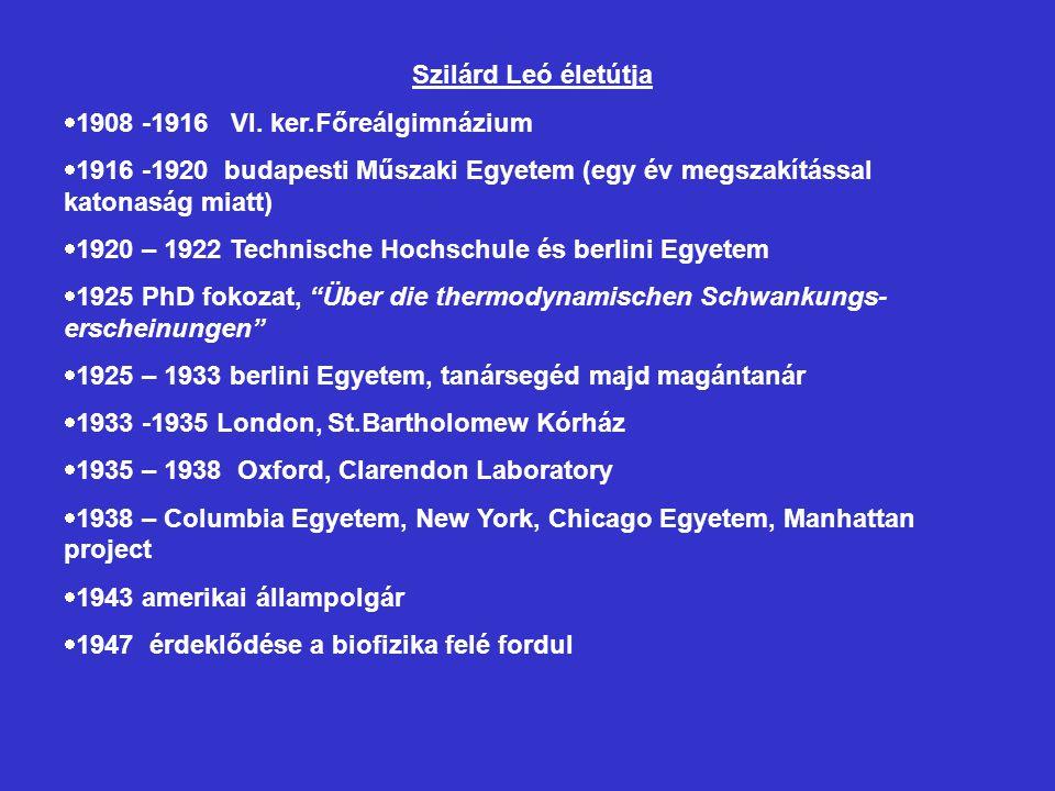Szilárd Leó életútja 1908 -1916 VI. ker.Főreálgimnázium. 1916 -1920 budapesti Műszaki Egyetem (egy év megszakítással katonaság miatt)