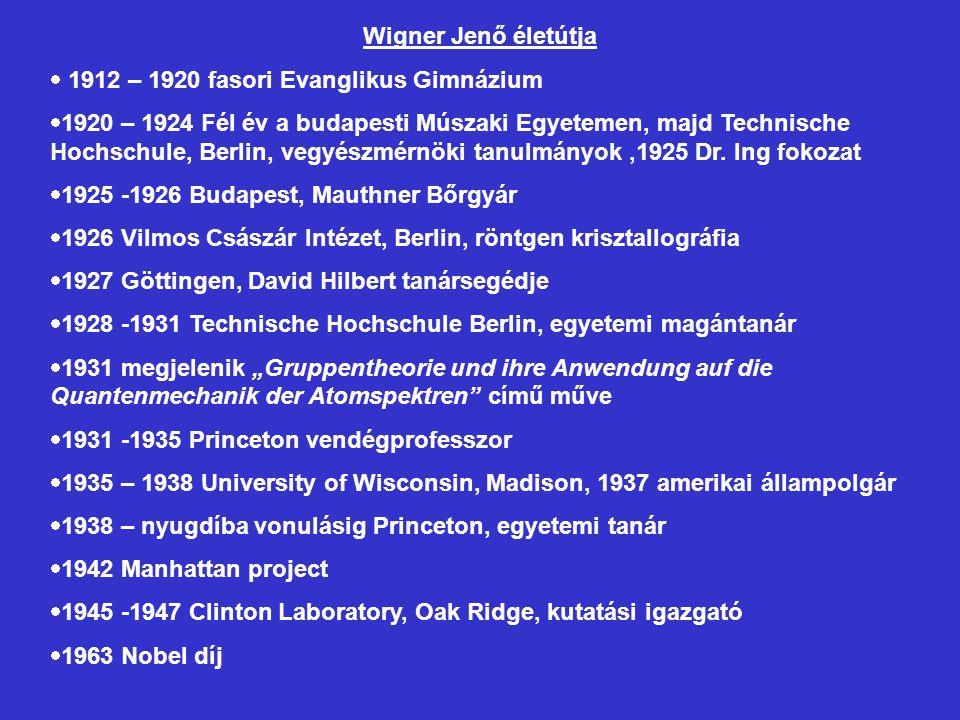 Wigner Jenő életútja 1912 – 1920 fasori Evanglikus Gimnázium.
