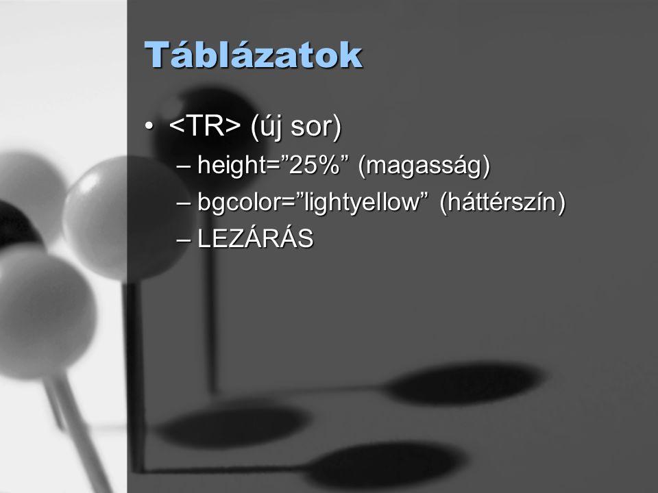 Táblázatok <TR> (új sor) height= 25% (magasság)