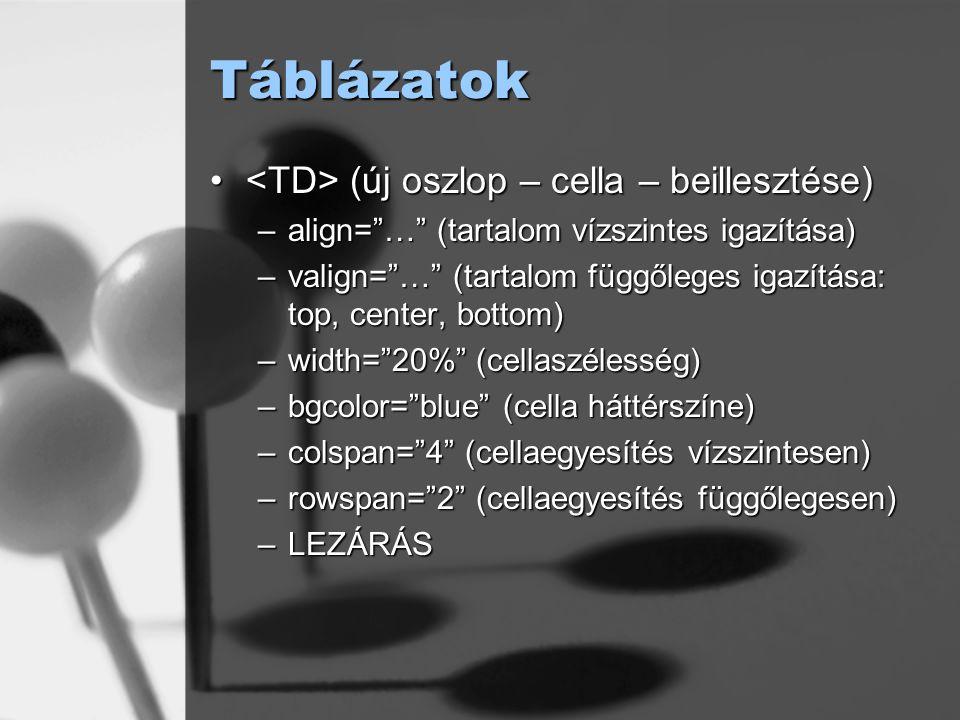 Táblázatok <TD> (új oszlop – cella – beillesztése)