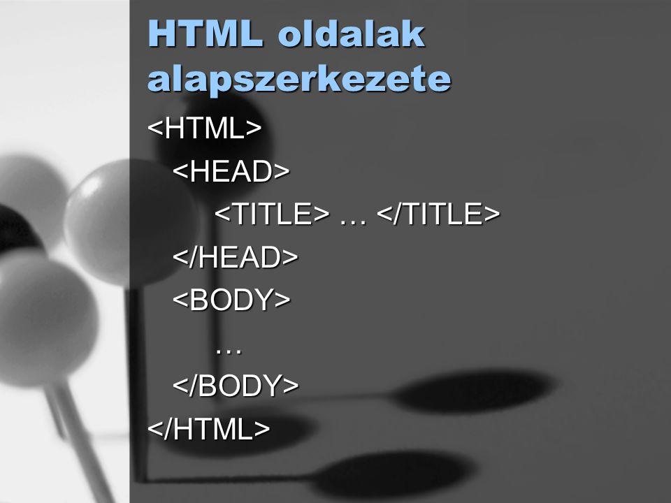 HTML oldalak alapszerkezete