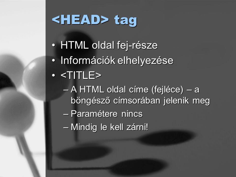 <HEAD> tag HTML oldal fej-része Információk elhelyezése