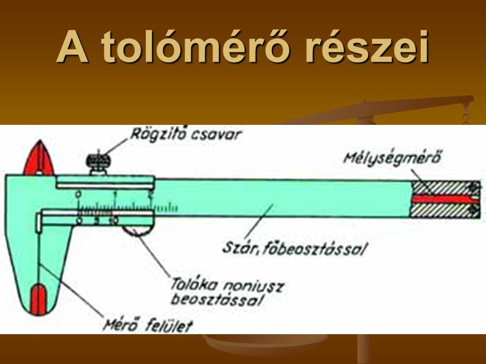 A tolómérő részei