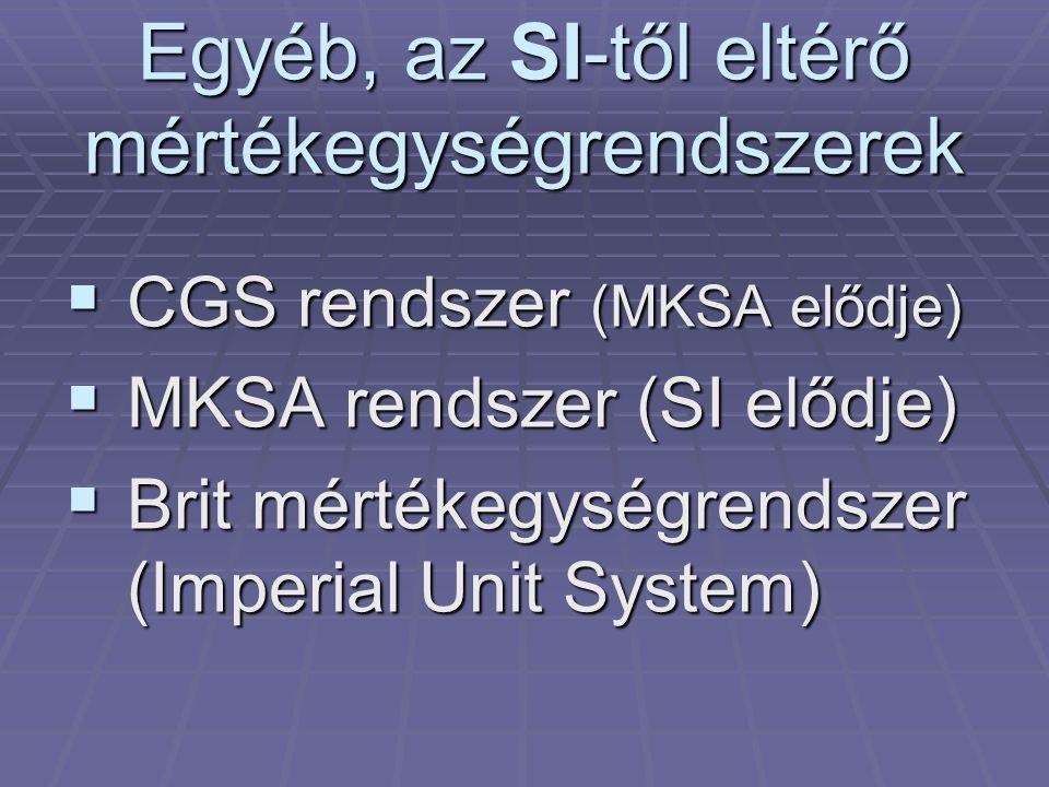 Egyéb, az SI-től eltérő mértékegységrendszerek