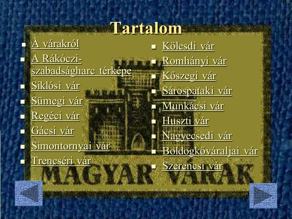 Tartalom A várakról Kölesdi vár A Rákóczi-szabadságharc térképe