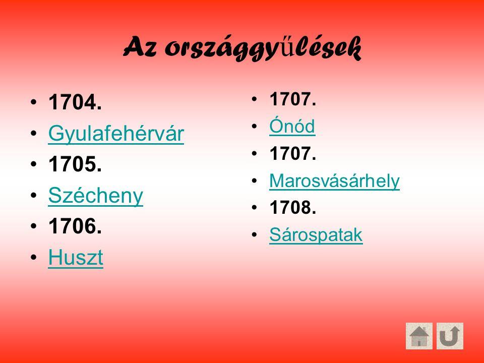Az országgyűlések 1704. Gyulafehérvár 1705. Szécheny 1706. Huszt 1707.