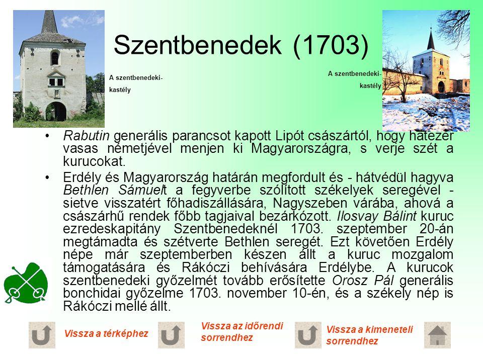Szentbenedek (1703) A szentbenedeki- kastély. A szentbenedeki- kastély.