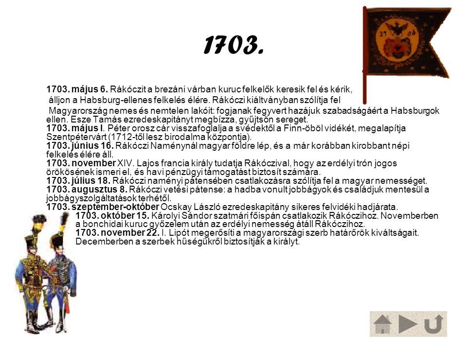 1703. 1703. május 6. Rákóczit a brezáni várban kuruc felkelők keresik fel és kérik,