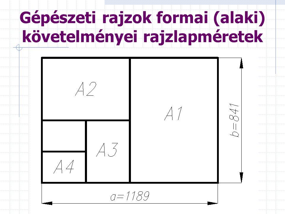 Gépészeti rajzok formai (alaki) követelményei rajzlapméretek