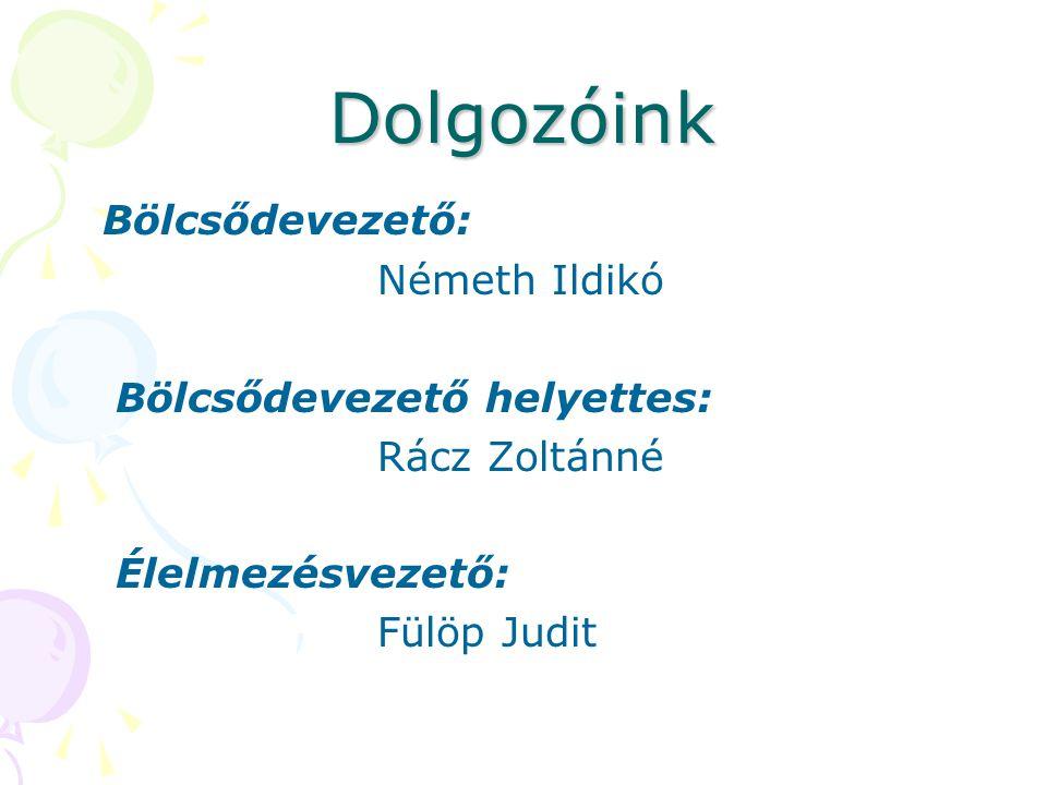 Dolgozóink Bölcsődevezető: Németh Ildikó Bölcsődevezető helyettes: